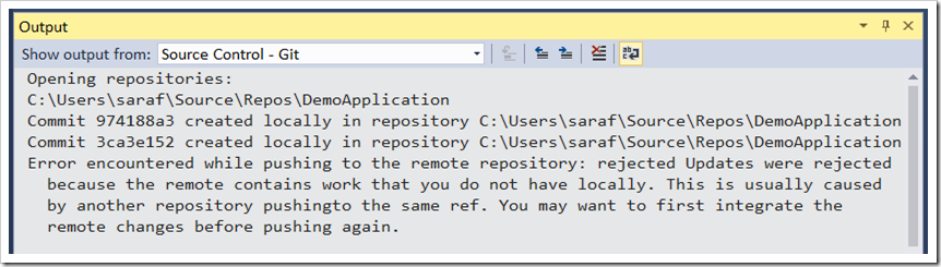 output window - the remote contains work that you don't have locally